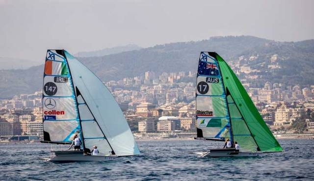 Annalise Murphy and Katie Tingle follow Australia's Natasha Bryant and Annie Wilmot at the Genoa Hempel World Cup Series in the 49erFX class
