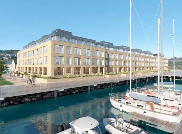 Artist's rendering of how Rowan Point will appear on completion in Greystones Marina