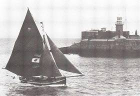 Paddy Barry's Galway hooker St Patrick returns to Dun Laoghaire in 1986 after her pioneering Transatlantic voyage from Ireland to Boston and New York