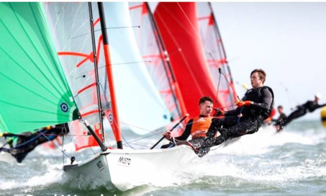 Royal Cork's Harry Durcan and Harry Whitaker with green spinnaker in a downwind leg at the 29er British Youth Nationals