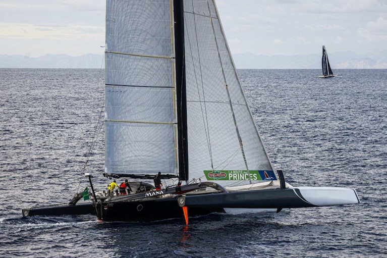 Middle Sea Race multihull handicap winner Mana (foreground) hanging in with the slightly higher-rated Maserati. Maserati's narrow win on the water converted into a handicap win for Mana by just 4 minutes and 23 seconds