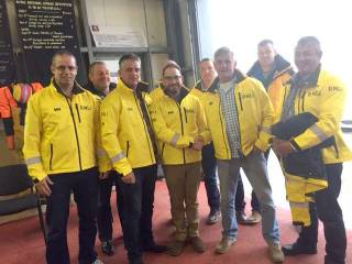 Fr Liam Boyle (pictured centre) served on the RNLI Arranmore lifeboat in Donegal