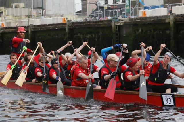 Member of Frankfurt Canoe Club FKV in a Dragon Boat  the Ocean to City Race, An Rás Mór as part of Cork Harbour festival at the finish line  Cork City Centre