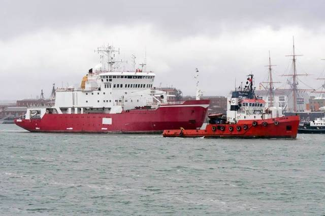 Former Royal Navy ice patrol survey ship, HMS Endurance (named in honour of Sir Ernest Shackleton's 1914-1918 Antarctic expedition ship) departing Portsmouth under tow to Turkish ship-breakers