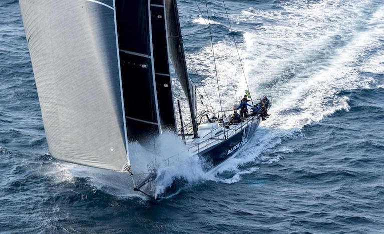Black Jack blasting south after the 2019 Rolex Sydney Hobart Yacht Race start