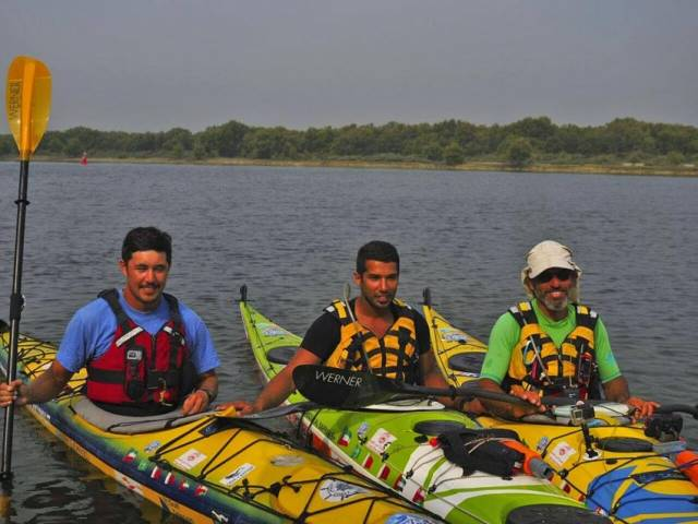 Colin Wong (left) with his Kayak4Kuwait teammates