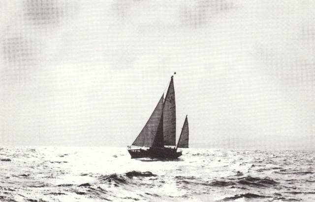 The classic yawl Verve in sweet silhouette on Dublin Bay