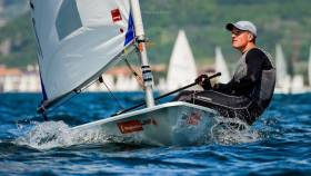 Jamie McMahon competing on Lake Garda