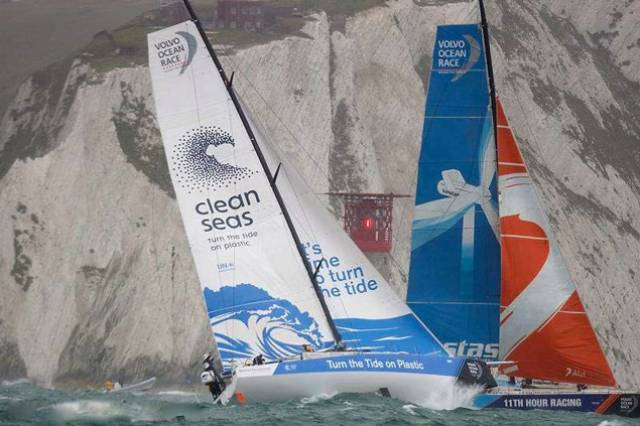 Cliffhanger….the Volvo 65s Turn the Tide on Plastic and Team Vestas in a tacking duel at The Needles lighthouse during the first race of the new fleet, a sprint round the Isle of Wight in the middle of Cowes Week 2017. Annalise Murphy will contest the Volvo Ocean Race on Turn the Tide, and Damian Foxall and James O'Mahoney are with Team Vestas