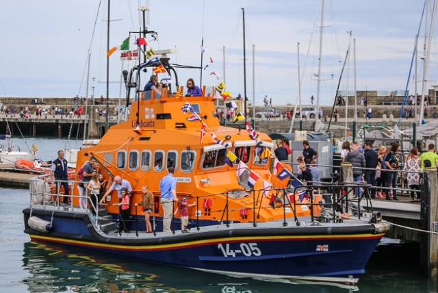 The All-Weather lifeboat was alongside for onboard tours all afternoon