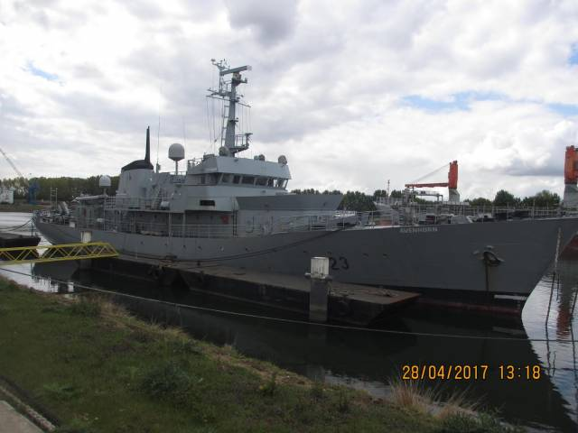Former Irish Naval Service LE Aisling which was sold for €110,000 but is said to be back on market at €685,000. The vessel renamed Avenhorn was towed from Cork in late April and is seen above just after delivery voyage to Rotterdam.