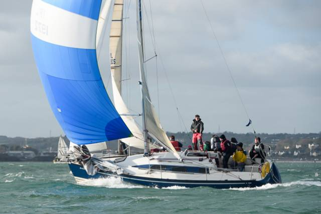 Ted and Tom Crosbie in the X-302, No Excuse was the RCYC Winter League IRC winner