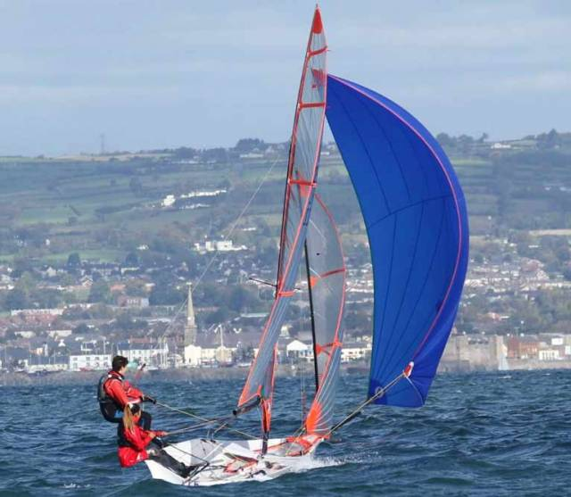 Leah and Luke Rickard in the lead in the 29er RYA NI National Championships on Belfast Lough