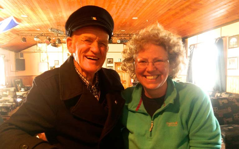 The King and the special sailing star – the late Patsy Dan Rodgers, King of Tory Island, with Rita Kennedy during her cruising visit to the island in 2017 with her husband Richard on their 34ft steel cutter Seachran