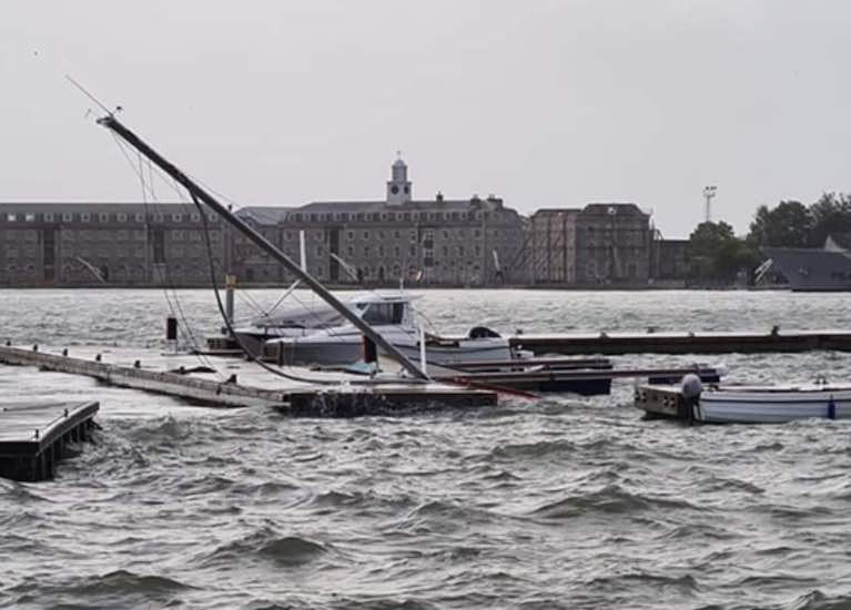 Storm Ellen Causes Damage at New Cobh Marina in Cork Harbour