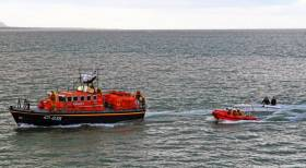 Wicklow RNLI towing the stricken cruiser to safety