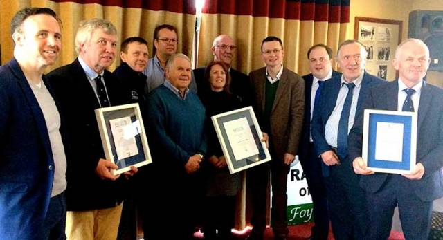 At the Foynes YC celebrations on Sunday were (left to right) Tom Neville TD, Patrick Finucane Hon Treasurer FYC, Simon McGibney FYC, Harry Hermon CEO ISA, David Lovegrove President ISA, Elaine O'Mahoney FYC, James McCormack Commodore FYC, Patrick O'Donovan Minister of State for Tourism and Sport, Adam Teskey Limerick County Council, Kieran Keary Limerick County Council, and Kevin Bartley Secretary FYC.