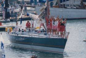 Tracy Edwards and crew celebrate on the deck of Maiden, as featured in the new documentary which opens on Friday 8 March