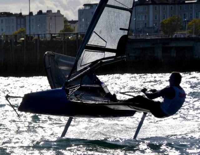 Royal Cork's Davy Kenefick in action at the Moth Nationals in Dun Laoghaire Harbour