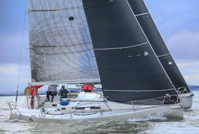 In April 2018 UK Sailmakers Ireland's Barry Hayes, Graham Curran, and Mark Mansfield carried out a two-boat testing session with the newly developed 'JX' headsail design on Dublin Bay