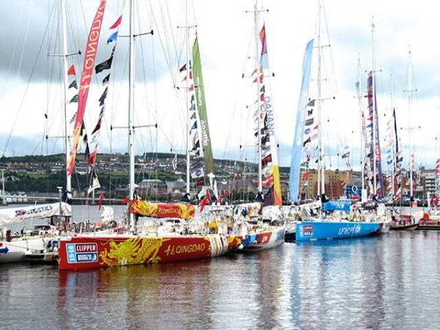 The Clipper Round the World fleet at the Foyle Marina in Derry