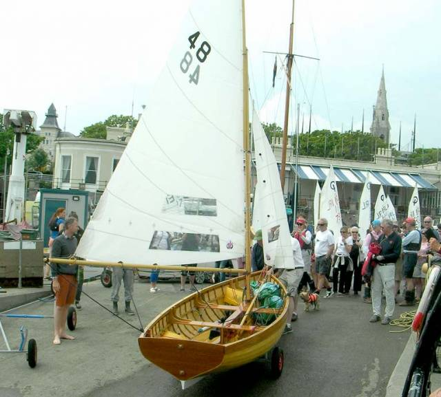 Water Wag dinghy is launched at the Royal St. George Yacht Club
