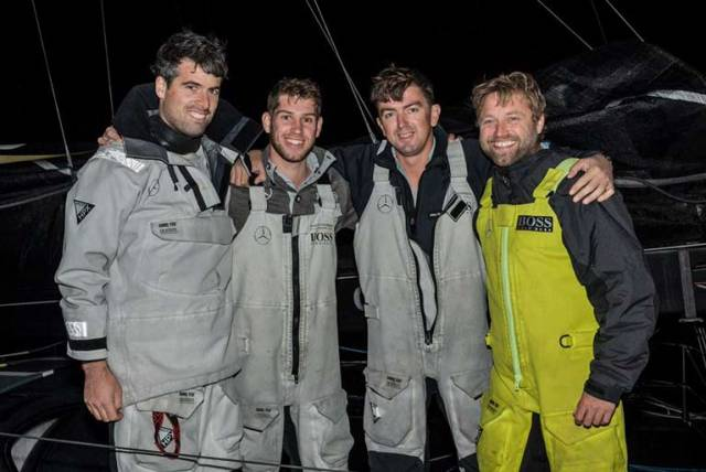 Nin O'Leary (left) and Alex Thomson (right) with their Hugo Boss shipmates Jack Trigger and Will Jackson in Valetta this morning after making a very good job of a tricky and often rugged Rolex Middle Sea Race 2017