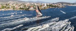 Wild Oats XI approaching the finish to take line honours in the 2018 Rolex Sydney Hobart Race Yacht Race