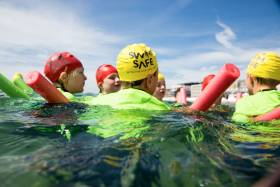 Children take part in a Swim Safe session in Poole, Dorset