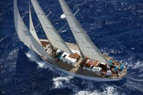 Spirit of Oysterhaven under full sail on starboard tack