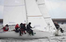 Close racing for the 16–boat J24 fleet at Foynes Yacht Club