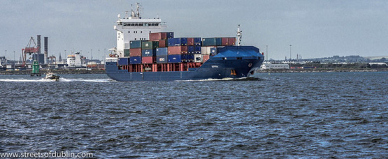 File image of a container ship at Dublin Port