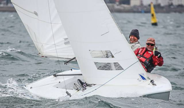 Ken Dumpleton and John McAree are competing in the Flying Fifteen Frostbite series
