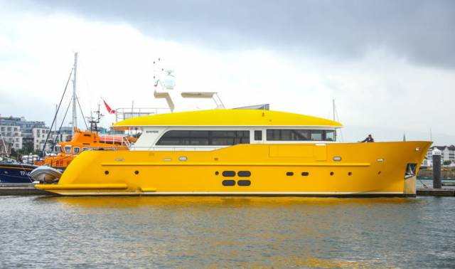 Say Hello to Yellow Superyacht 'Ruwenzori' Just Arrived at Dun Laoghaire Marina