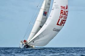 Current Race 12 leaders Garmin at full sail in the North Atlantic