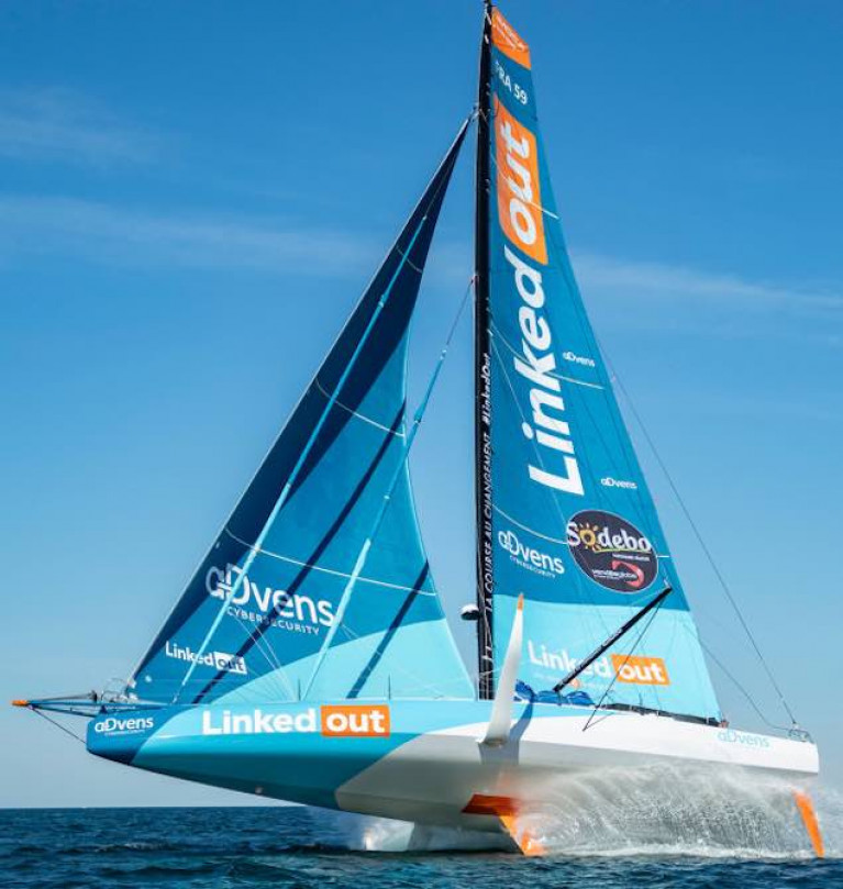 Thanks to main support sponsors Advens Cybersecurity, Thomas Ruyant's new Marcus Hutchinson-managed Vendee Globe-entered IMOCA 60 is providing major publicity for the not-for-profit social organisation LinkedOut