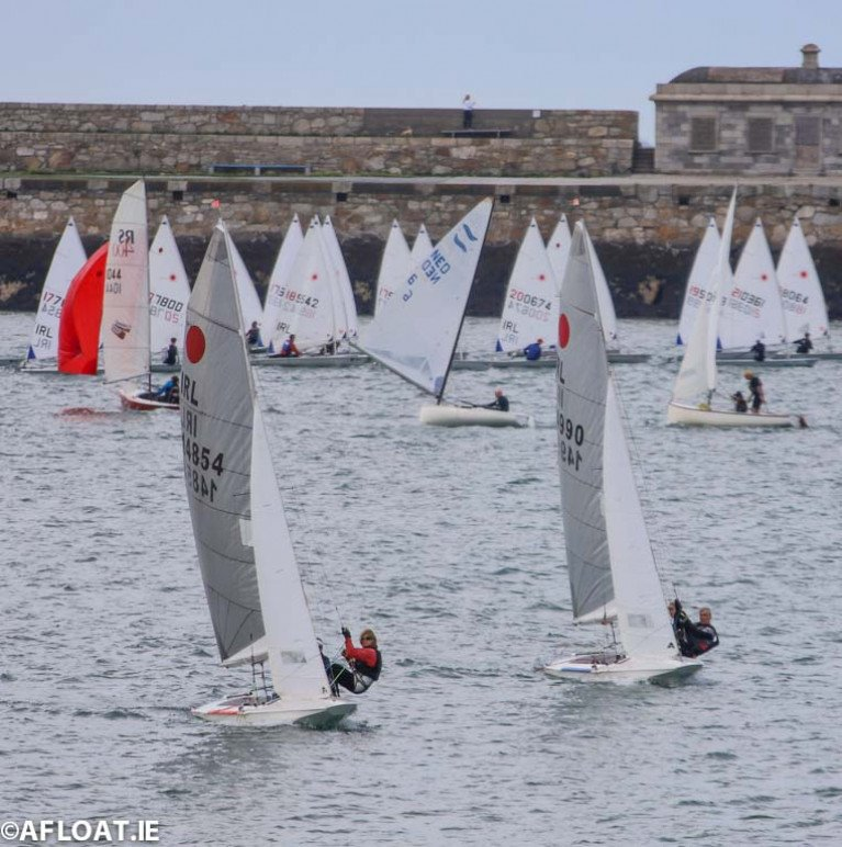 DMYC's Cariosa Power with Marie Barry in marginal trapeze conditions to leeward (IRL 14854) and Frank Miller and Neil Cramer in IRL 14990