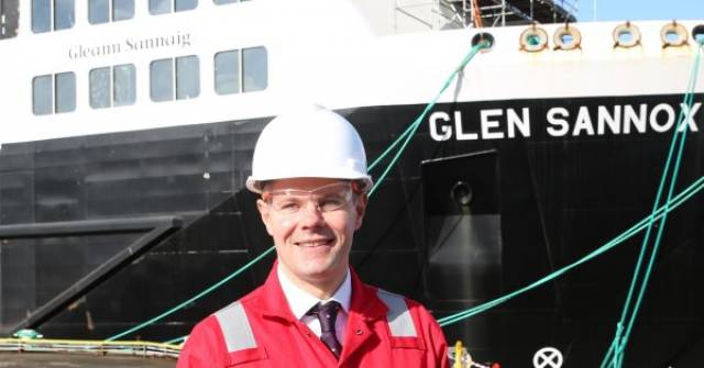 Scottish Government Finance Secretary, Derek Mackay said the action taken would help to ensure a future for the yard where above AFLOAT adds is newbuild Glen Sannox, the first of the pair of public sector ferries (for operator CalMac) which the yard is working to finally complete. Note on the superstructure the Scots-Gaelic name of the duel-fuel ferry is 'Gleann Sannaig'