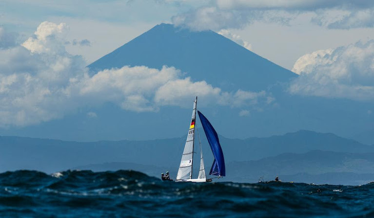 Sailing on the Olympic Race course in Japan