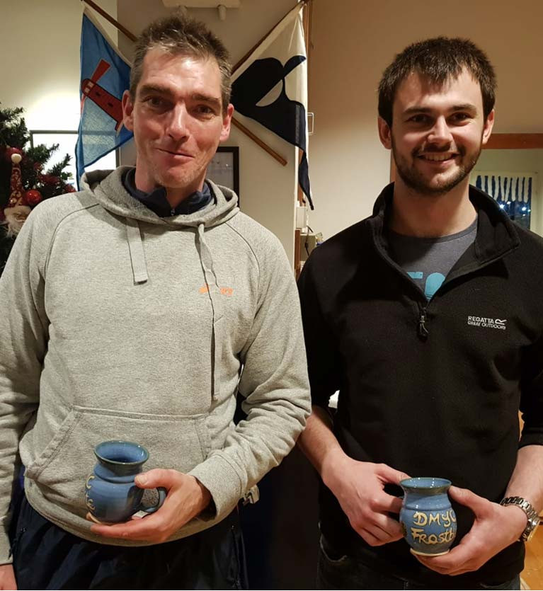 Michael Ennis (L) and Josh Porter pick up their Frostbite Mugs for Race 2 in the DMYC PY Frostbite dinghy fleet