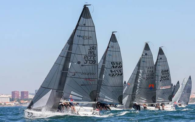 Ger Dempsey's Venuesworld from the Royal Irish Yacht Club leads the Irish at the SB20 Worlds