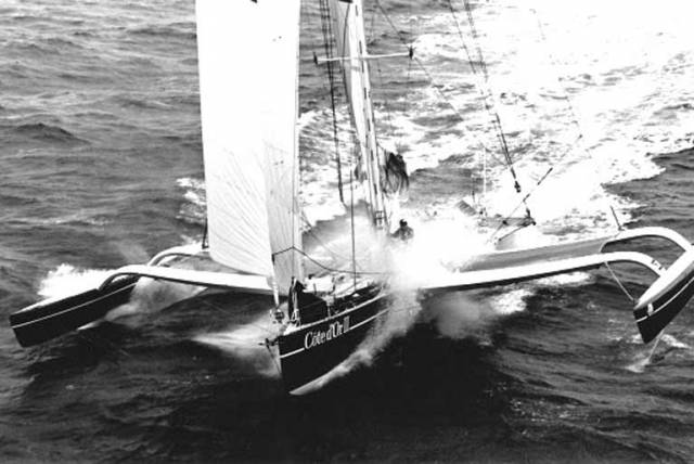 The Eric Tabarly-skippered trimaran Cote d'Or III racing to Dun Laoghaire in the Tag Heuer Round Europe Race 1987
