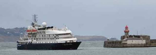 Sea Explorer which in Spring was renamed Hebridean Sky following a multi-million refurbishment for Noble Caledonia made a first call to Dun Laoghaire Harbour today