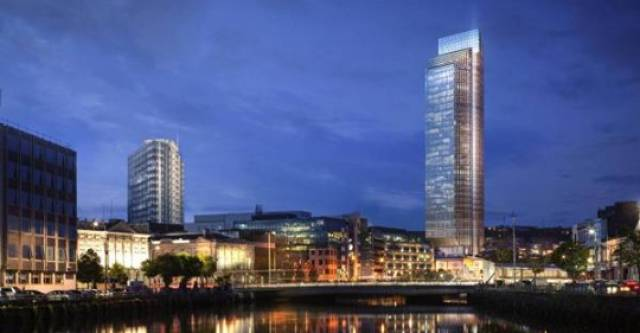 Custom House Quay development. AFLOAT adds the CGI image of the proposed tower development (on right) at the Port of Cork site where existing and historic bonded warehouses are located in the city's 'docklands'