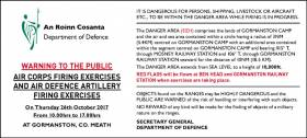 WARNING TO THE PUBLIC AIR CORPS FIRING EXERCISES AND AIR DEFENCE ARTILLERY FIRING EXERCISES