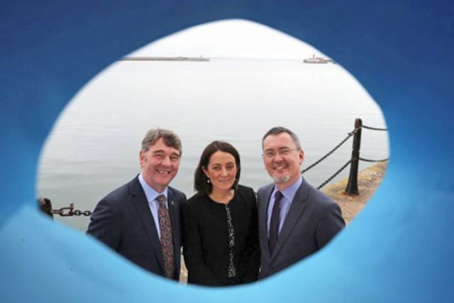 Marine Institute CEO Peter Heffernan, PwC partner Yvonne Thompson and BIM chief Jim O'Toole the launch of the 2018 Our Ocean Wealth Summit