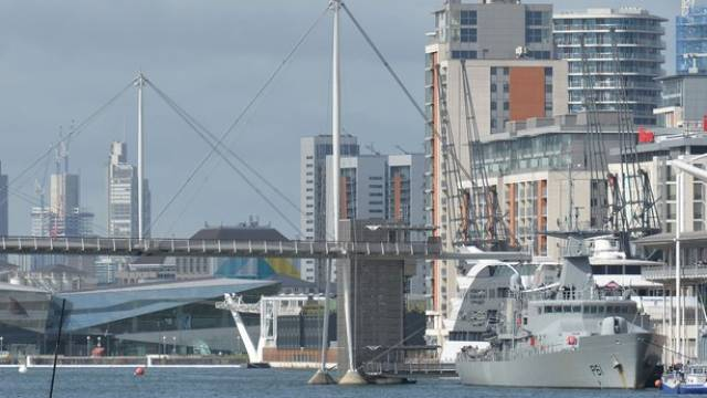 Attending the DSEI Fair is LE Samuel Beckett which berthed at the ExCel centre in London's east Docklands