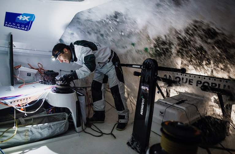 The time to beat for the current Vendée Globe monohull entrants is 74d 03h 36' set by fellow Frenchman Armel Le Cléac'h in his IMOCA 60 Banque Populaire