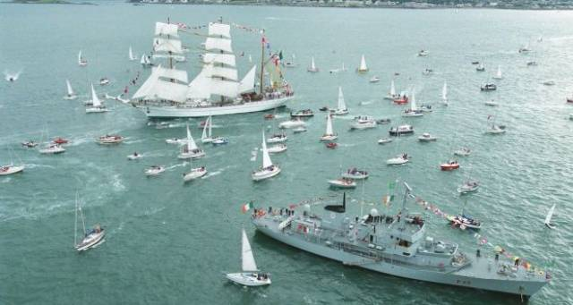 A Greek ship broker and an Irish yacht club are among the inquiries made about the former LE Aisling seen with Tall Ships flotilla off Dun Laoghaire Harbour