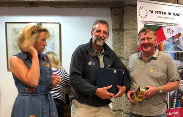 Dragon Slayers – Wife of Class captain David Williams, Hilary, presents the prizes to winners John Simms (centre) and Martin Byrne. Not pictured is third crew man Adam Winkelmann